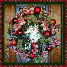 Christmas reindeer rustic plaid ribbons and bows pine wreath for my 2014 home decor front porch door
