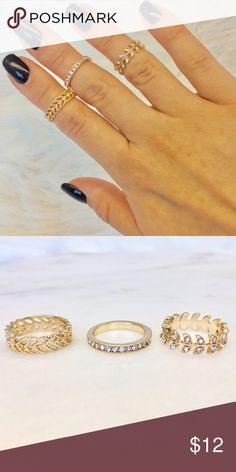 Roman Ring Set There beautifully detailed midi rings  gold toned with rhinestone accents. No trades. Jewelry Rings
