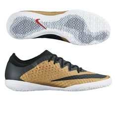 low priced 21eb5 1863b Nike MercurialX Finale IC Indoor Soccer Shoes (Metallic Gold Challenge  Red Black White)