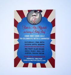 Strong Man Circus Baby Shower Invitations door brighteyedbirdie stencil