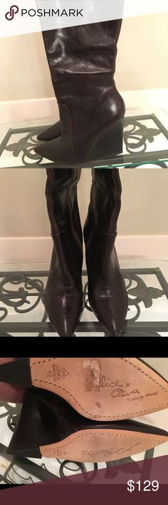 Alice+Olivia brown leather wedge boot New! 40/9 These will show very light marks from handling and trying on but never worn. There're amazing rich leather! Alice + Olivia Shoes Heeled Boots