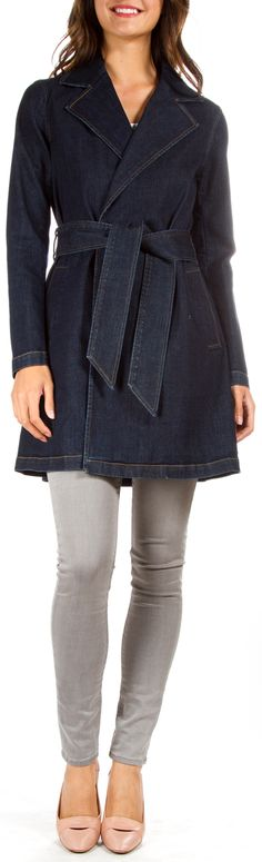 "Ralph Lauren Dark Denim Jean Coat This long denim coat by Ralph Lauren looks great paired with black or colored jeans and a basic top. Wear left open or use the belt to wear fastened tight. In great condition! Two front pockets Belt loops, with belt Open pleat in the back Bust 35"" Waist 34"" Hips 37"" Sleeve Length 24"""