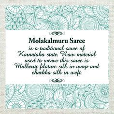 Molakalmuru Saree The raw material used to weave this traditional Saree is Mulberry filature silk in warp and charkha silk in weft. #HandWoven #IndiaHandloomBrand
