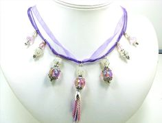 Purple Ribbon Crystal Necklace Ribbon Purple by Chris of  FantasyDesign, $74.00