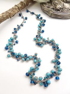 Turquoise Glass Necklace Beaded, Indian Beads Necklace in Blue, Mothers Day, Estate Jewelry, Unique Necklaces for Women, Handcrafted Jewelry
