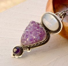 Raw Amethyst Necklace Hand Crafted Rainbow by EONDesignJewelry