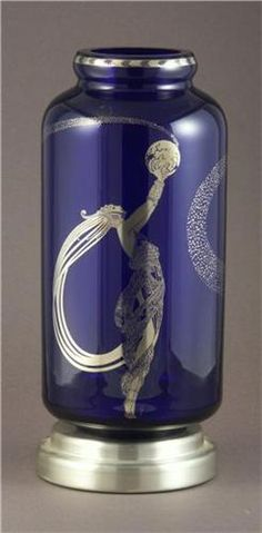 ERTE COBALT BLUE ART GLASS VASE ART DECO FIREFLIES