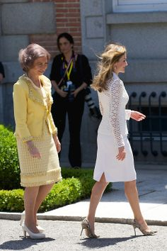 Queen Sofia of Spain and Crown Princess Letizia of Spain at Zarzuela Palace, 09.06.2014 in Madrid