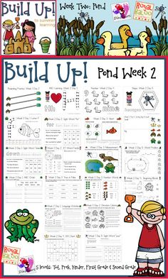 Build Up Summer Learning: Week 2 Pond - Levels: Tot, Prek, Kinder, First Grade & Second - Sight Words, ABCs, Numbers, Shapes, Word Families, Language & Math - 3Dinosaurs.com & RoyalBaloo.com