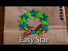 ★折り紙1枚で簡単な星★EasyStarクリスマスリースにも♪【Origami tutorial】 - YouTube
