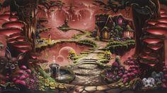 waterfall, butterfly, girl, buttercup, sunset, fairytale, house, fantasy, art, christopher pollari wallpaper