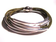 Olive Green Leather Cuff Bracelet with Silver or by wrapsbyrenzel, $15.99