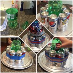Diet Pepsi can cake. I love to make these they are so simple. Cut the top off of a 2L pop bottle place cans of choice pop beer juice around. Use Duct Tape to secure or ribbon. Tape chocolate bars I use the mini bars around as a 2nd level. Stick ribbon to the top (well bottom) of the bottle use tape and or Crazy glue to secure. You can add a balloon or candles.
