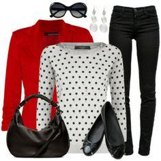 Blazer, Skinny Jeans & Flats