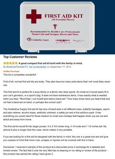 """A great review from one of Amazon's """"Top 500 Reviewers"""" on the ideal first aid kit for individuals and families with active lifestyles. Brought to you by GoldenEye Supply!"""