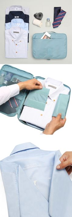 Perfect for a business trip...this pouch will help you organize for travel! A main compartment can store 3-4 business shirts neatly, with a velcro strap to keep everything in place! 3 additional pockets can hold smaller items and keep them organized. The pouch also comes with a folding shirt pad, allowing you to fold your shirts perfectly every time. The pouch is made of waterproof material, and has a handle attached for easy transportation. Comes in 4 different colors!