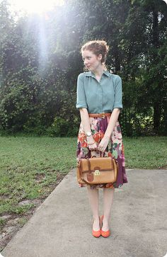 patterned skirt with matching shoes and solid top