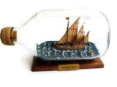 "Ship in a bottle ""Nina"", OOAK, diorama, ship model, scale model, handmade, impossible bottle, model ship"