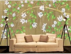 "Mural ""Magnolias"". A wall mural from Muralunique.com. This is an original painting from Ruth Baker. https://www.muralunique.com/magnolias-105-x-8-320m-x-244m.html"