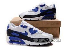 http://www.nikekwazi.com/nike-air-max-90-mens-white-blue-black.html NIKE AIR MAX 90 MENS WHITE BLUE BLACK Only $82.00 , Free Shipping!