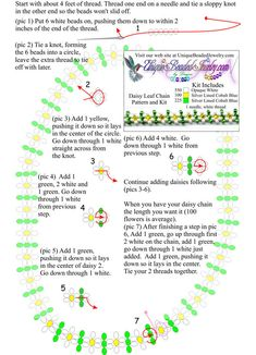 Free Daisy Chain Leaf Bead Necklace Pattern #Seed #Bead #Tutorial