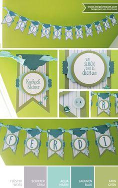 Kreativersum, Stampin' Up!, SU, Junge, Geburt, Glückwünsche, Wimpelkette, Kuckuck Kleiner, Wie schön, dass es Dich gibt, Flüsterweiß, Farngrün, Aquamarin, Lagunenblau, Stempelkissen, Stempel, Farbkarton, Stampin' Write Marker, Designerpapier, Stempelset, Layered Letters Alphabet, Erfreuliche Ereignisse, Stanze, Kreis, Dekoratives Etikett, Abreißetikett, Lots of Labels, Framelits, Banner, Big Shot, Band, Knöpfe, Pailetten