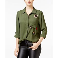 Gypsies & Moondust Juniors' Military Shirt with Patches ($20) ❤ liked on Polyvore featuring tops, olive, shirt tops, olive green shirt, olive military shirt, olive top and military green shirt
