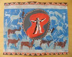 Shaman San Art - Acrylic Painting Artwork by Hadeda on Etsy Sans Art, Moose Art, Unique Jewelry, Handmade Gifts, Artwork, Painting, Animals, Etsy, Vintage