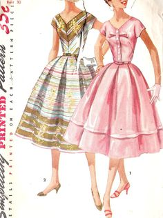 1950s Juniors' Misses' One-Piece Dress Vintage Sewing Pattern Simplicity 1538