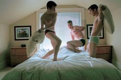 Three have pillow fight