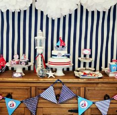 Nautical Party Printables Supplies  (pinned for blue and white fabric background idea..)