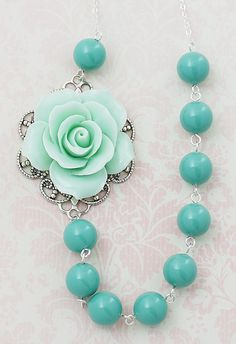 Mint Rose and Jade Green Swarovski Pearls Bridesmaid Necklace from EarringsNation Mint Weddings