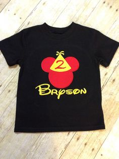 Mickey Mouse birthday shirt! This listing is for a black, short sleeve, Mickey Mouse birthday tee. Theres also another listing of this shirt that features a white tee, check it out! Please leave your childs name and how old theyll be in the comment section at checkout. If you dont see what youre looking for, convo me