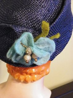 Navy Blocked Straw Hat with Handmade Felt Flower by Baubles & Whatnots, SOLD