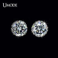 UMODE Multi Prongs 8mm 2ct Top Quality CZ Cubic Zirconia Stud Earring UE0013