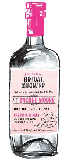 Wine Tasting Bridal Shower Invitations Modern by PaperworkEnvy
