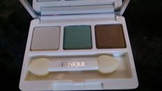 **has been swatched and will not include brush**. CLINIQUE TRAVEL SIZE ALL ABOUT SHADOW TRIO #CLINIQUE