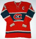 Visuals for Le Chandail de Hockey, including Maurice Richard's hockey sweater. From Canadian Museum of History exhibit.