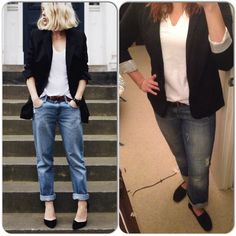 White V-Neck-Amazon Black Blazer-Target Jeans-Gap Outlet Black Toms