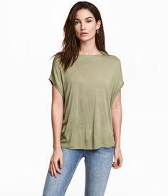 Fine-knit Top | Light khaki green | Women | H&M US