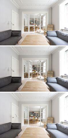 Vahle folding glass door. Classic Danish wood furniture and style #vahledoor #interiordoor #foldingdoor #glassdoor #bespokedoor #architecture #design #madeindenmark