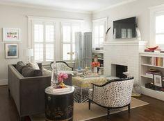 Hallie Henley Design - living rooms - brick fireplace, white brick fireplace, flatscreen tv, fireplace flatscreen, fireplace tv, tv over fir...