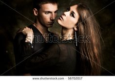 stock photo : young couple in love, studio shot