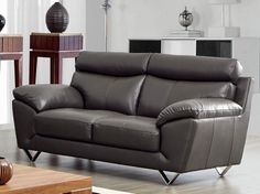 ESF 8049 Loveseat - Modern Contemporary Leather Sofa in gray color. Solid V shape Metal Legs. Overstuffed Arm rests. Comfortable Neck rest support.