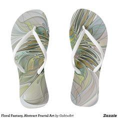 Floral Fantasy, Abstract Fractal Art Flip Flops