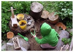Mud Kitchen - I doubt parents would appreciate mud in my play space but I love the play area. Natural Play Spaces, Outdoor Play Spaces, Backyard Playground, Backyard For Kids, Playground Ideas, Children Playground, Backyard Ideas, Garden Ideas, Backyard Designs