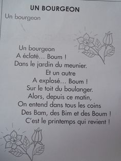 Comptine: un bourgeon French Poems, French School, French Teacher, Kids Songs, Spring Crafts, Literacy, Language, Classroom, Teaching