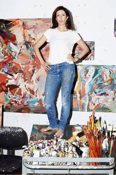 Cecile Brown, photographed with untitled works in progress at her Union Square, NYC, studio