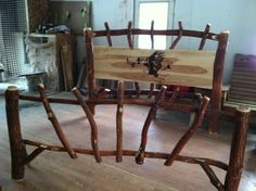 This Amish made log sassafras bed is perfect for country living in a rustic lodge, log cabin, or farmhouse.  Choose from a variety of laser guided woodburn graphics, or have a custom graphic completed.  Amish made, this bed frame is durable and sure to last.  Affordably priced and available in Twin, Full, Queen, or King at Furniture Barn USA.  http://furniturebarnusa.com/rustic-log-sassafras-beds/77-rustic-sassafras-log-bed-set.html