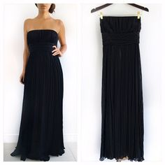 "BCBGMAXAZRIA Black Strapless Evening Gown BCBGMAXAZRIA Black Strapless Evening gown! Perfect for that special occasion coming up! This dress makes you feel like a dramatic goddess. 100% silk. Champagne beige lining. Fitted to flowy. Ties around the waist. Invisible back zipper. Excellent condition. Measurements Chest-36"" waist-28"" hips-52"" length-51.5"" size 8p BCBGMaxAzria Dresses Strapless"
